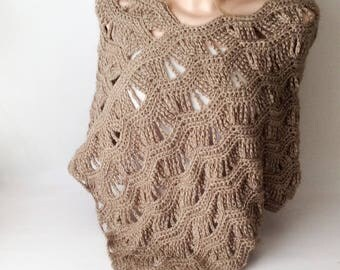 Spring Poncho, Crocheted Beige Shawl