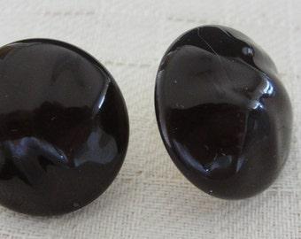 Black Round Acrylic Clip Earrings