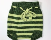 Green Striped Knitted Woolen Cuffed Soakers Pure Wool Newborn to 6 month size