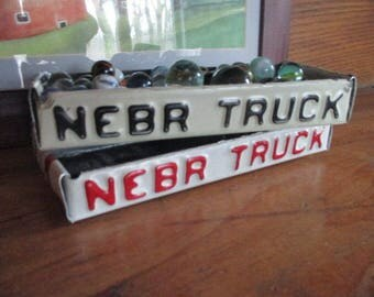 "Red or Black Nebraska ""Truck"" License Plate Box - Repurposed Treasure Box - Planter - Free Shipping"