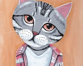 Grey Tabby Cat in Plaid Original Folk Art Portrait Painting