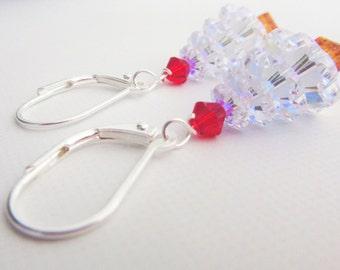Christmas Tree Earrings - Holiday Earrings - Christmas Earrings - Swarovski Earrings - Dangle Earrings - Red Earrings - Christmas Jewelry
