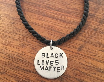 Black Lives Matter tag and cord personalized custom resist political activists