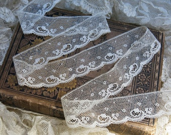 Vintage French Valenciennes Lace, Scalloped, Picot ... Antique French Lace Edging Yardage, Fine Cotton Trim, Embellishment ... LY161010