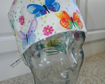 Tie Back Surgical Scrub Hat with Spring Butterflies