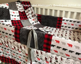 Rustic Buffalo Plaid Deer Woodland Red Black and Grey Baby Nursery Crib Bedding Set made with Designer fabric CHOOSE and CUSTOMIZE