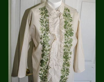 Vintage 1950's Rockabilly Tan Green Print Woman's Shirt with Ruffles