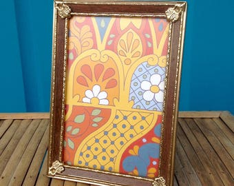 FREE SHIPPING..Vintage 5 x 7 Gold Metal Faux Bois Inlay Picture Frame-Faux Inlay Wood-Ornate Corner Brackets-Mid Century-Mancave-Wedding