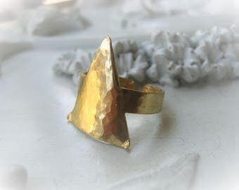 Triangle Ring Brass Statement Ring Antique Gold Arrowhead Ring Item No. 8668