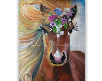 Cute Horse and Sleeping Fairy Whimsical ,Original Painting on Canvas