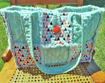 Green Rag Quilt Diaper Bag - Green Diaper Bag - Baby Shower - Mother's Day - Craft Tote