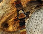 Free Form Peyote Stitch Beaded Bracelet Beaded Cuff - Beaded Cabochon - Bead Weaving  - AGATE  BOHO