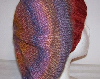 Wool/Acrylic Tam - Slouchy Knit Beret - Knitted Dreadlock Tam - Hand Knit Beret - Womens Beret - Joshua Tree