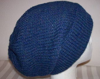 Wool/Acrylic Ski Hat - Slouchy Knit Beanie - Hand Knit Hat - Knitted Hipster Toque - Blue Mist