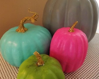 Hand Painted Pumpkins Turquoise Pink Grey Lime Green Set of 4