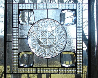 Fostoria Crystal with bevels  stained glass panel