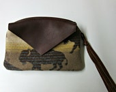 RESERVED for s.e.w-r Buffalo Wool Zippered Pouch Change Purse Coin Purse Organizer Leather Trim