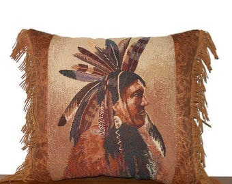 Western Pillow Southwestern Medicine Man Tapestry Pillow Tribal Inspired Native American Print