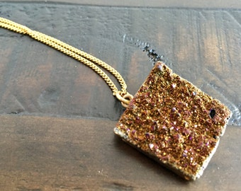 Dara Ettinger Brilliant Small Druzy Square Necklace in Espresso