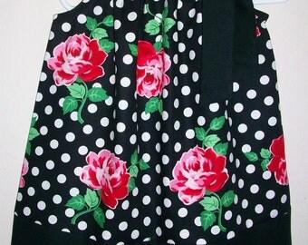 Pillowcase Dress with Roses Floral dress Girls Dresses Black and White Rose Dress Michael Miller Modern Dress Summer Dress for wedding