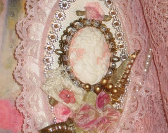 Victorian Pink Lady Cameo Plaque