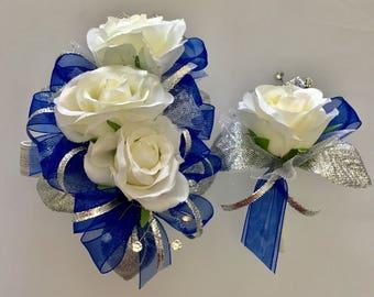 Royal Blue Silver Corsage & Boutonnière Set