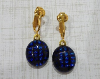 Blue Dangle Clip On Earrings, Black and Blue Dichroic Earrings, Dangle Clip Earring, Fused Glass Jewelry, Ready to Ship - Suzy -6