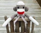 Sock Monkey Doll - Handmade Rockford Red Heel Sock Monkey Toy - Traditional