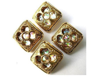 6 Vintage buttons square gold color plastic inside flower design with rhinestone-choose size
