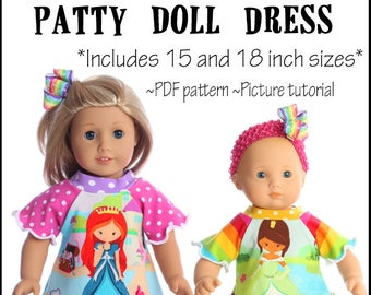 15 and 18 inch Patty Doll Clothes Sewing Pattern  Dress Pattern Twirl Dress PDF and Tutorial Downloadable
