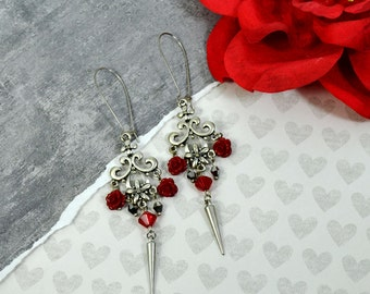 ROSES and SPIKES - Red Roses and Silver Spikes Charm Ornate Earrings