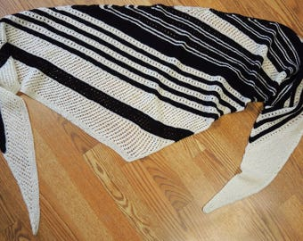 Hand Knit Black and White Acrylic Yarn Triangular Stripe Scarf or Shawl Gift