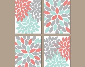 Coral Aqua Gray Wall Art, CANVAS or Prints Bedroom Pictures, Coral Aqua Bathroom Artwork, Flower Burst Wall Art, Dahlia Petals Set of 4