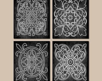 BLACK Wall Art, CANVAS Or Prints, Chalkboard Farmhouse, Medallion Outline,  Bathroom Picture