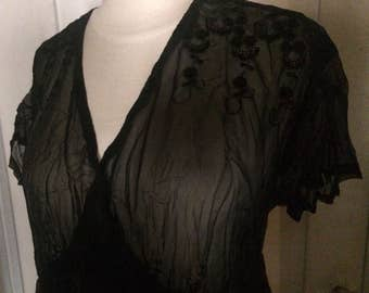Vintage Rozae Nichols Sheer Long Black Dress, Empire Waistline, Embroidered, Pleated