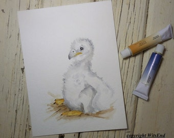 Baby Eagle painting watercolor Eaglet bird nest Nursery nature art