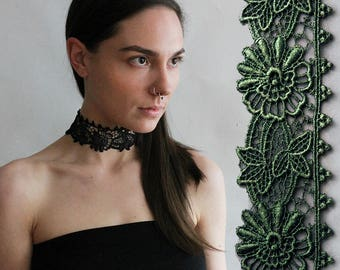 black wide lace choker | BEBE | wide choker, boho choker, victorian, black lace, choker necklace, gift for her, festival jewelry