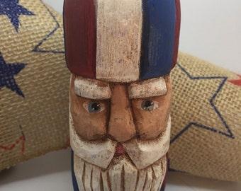 Carved Uncle Sam Santa Antique Fishing Net Float, Patriotic Wood Carvings