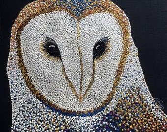 "Owl Acrylic black 12""x12"" square on paper. Orange black brown white tan pearl white gold copper blue yellow"