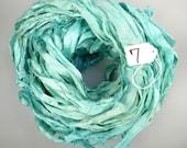 Sari Silk Ribbon, Recycled Silk Sari Ribbon, Aquamarine sari ribbon, knitting supply, weaving supply, jewelry supply, sewing supply