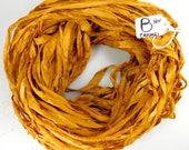 Silk Sari Ribbon, recycled sari ribbon, Sari Silk Ribbon, rug making supply, Aztec gold ribbon, weaving supply, knitting supply