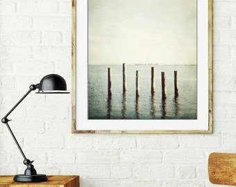 "Beach ocean photography print, pale blue nautical minimal wall art  ""Six Pilings"""