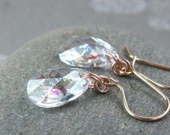 Swarovski Drop  Earrings Rose Gold Filled Jewelry   Swarovsky Earrings  Crystal Jewellery  Gifts For Women Handmade Accessories Mixed Metal