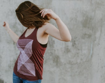 Palindromes women's racerback tank top. Minimalist geometric print on American Apparel heather CRANBERRY tanks. Workout tank for women..