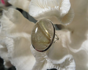 Golden Rutile Agate Ring Size 8.75