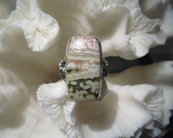 Pretty Pink Green Ocean Jasper Ring Size 8.5