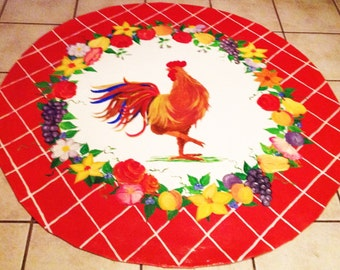 Floorcloth  French Country / Rooster/ 4' Round  Red Rooster Floorcloth