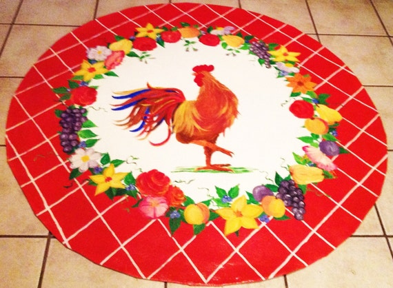 French Country Rooster Rug by