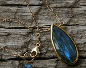 ckb creations, labradorite necklace, gold labradorite necklace, bezel set labradorite necklace, labradorite teardrop, gold labradorite