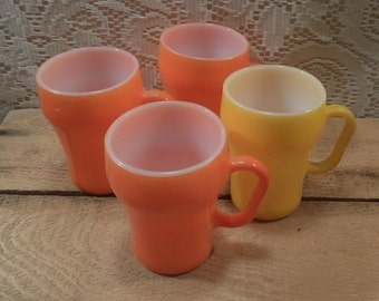 Anchor Hocking Fire King Milk glass soda mugs cups set of 4 Fountain style mug
